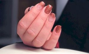dégradé de paillettes ongle en gel nail art o'xess nails systems